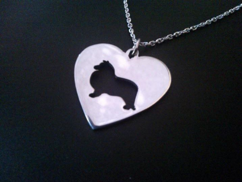 Sheltie in a heart dog pendant sterling silver handmade by saw piercing